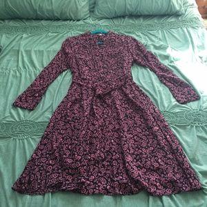 Nanette Lepore Floral Pintuck Dress Long Sleeve